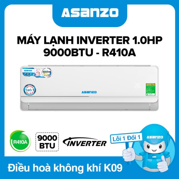 Máy Lạnh Asanzo K09A Inverter 9000BTU (1.0HP) Phù Hợp Diện Tích 15m² (Siêu Tiết Kiệm, Làm Lạnh Nhanh, Tự Điều Chỉnh Nhiệt Độ, Lọc Không Khí) Máy lạnh giá rẻ - Bảo Hành 2 Năm