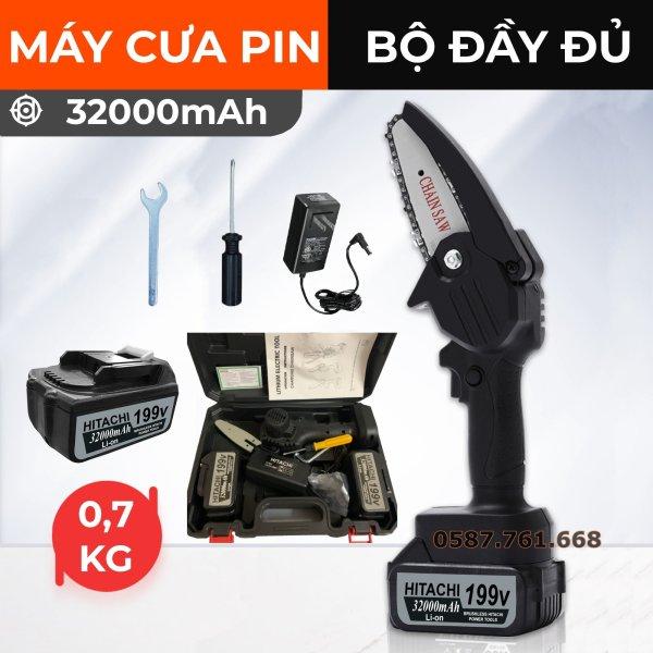 Máy cưa xích dùng pin cầm tay Hitachi 199V- Máy cưa xích Hitachi- Cưa xích chạy pin- Pin 10 cell - Lõi đồng