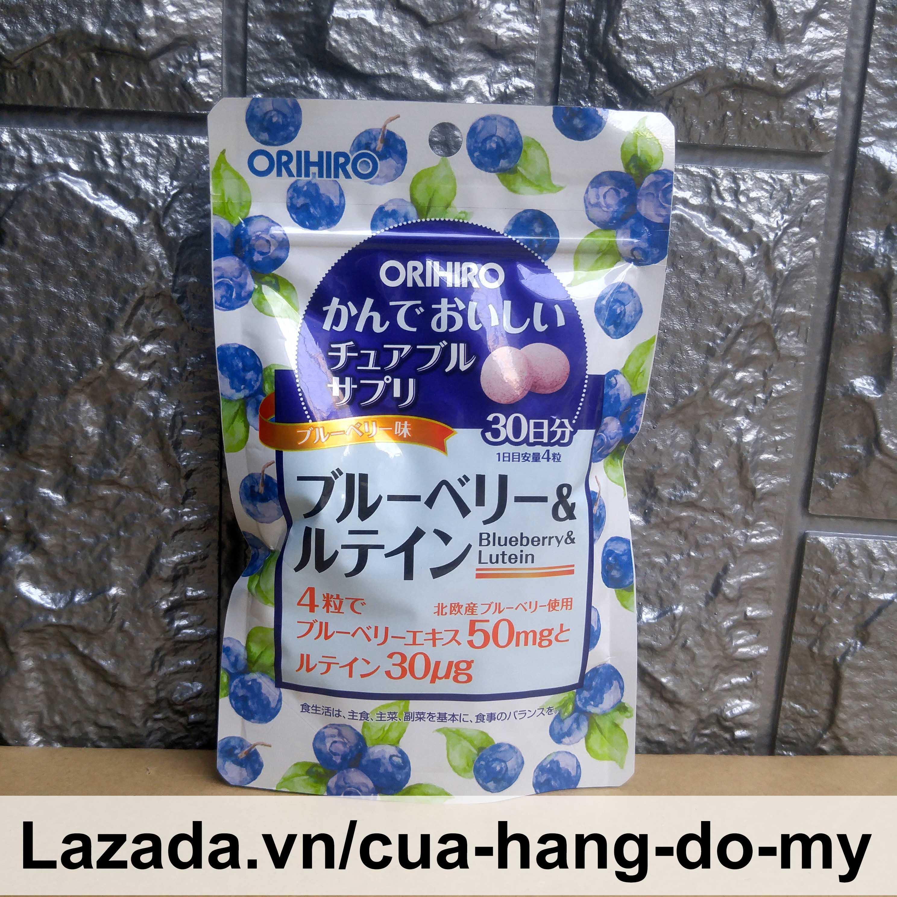 Kẹo ngậm bổ sung Blueberry và Lutein Orihiro 120 viên - Kẹo nhai hương việt quất bổ sung vi chất tốt cho mắt cao cấp