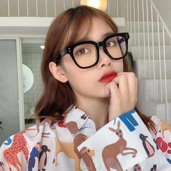 Giá bán Kính giả cận chữ V mắt kính không độ bảo vệ mắt chống tia UV có thể thay được tròng cận, kính mát nam nữ phong cách Hàn Quốc hottrend 2021