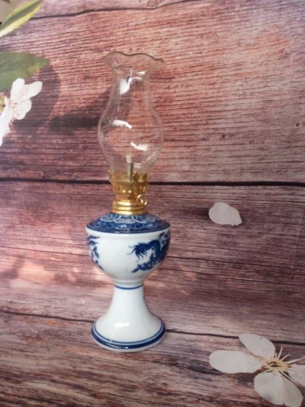 Đèn dầu gốm sứ đủ bộ loại nhỏ D7 cm, hoa văn