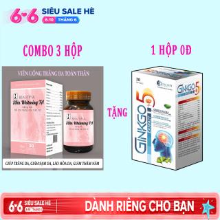 [COMBO 3 HỘP] Viên Uống Trắng Da Toàn Thân Hỗ trợ làm giảm quá trình lão hóa da, hết nám da, tàn nhanh, hỗ trợ tăng nội tiết tố giúp da sáng mịn trắng hồng rạng rỡ. dp tg pharma thumbnail