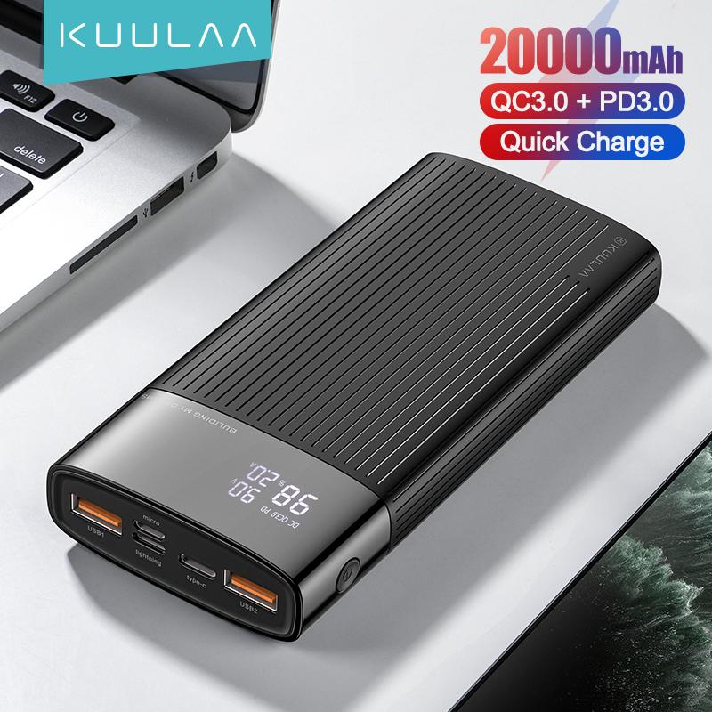Sạc Dự Phòng KUULAA 20000mAh Cổng USB Type C PD Hỗ Trợ Sạc Nhanh 3.0 Dành Cho iPhone 12 iPhone 11 Xiaomi OPPO