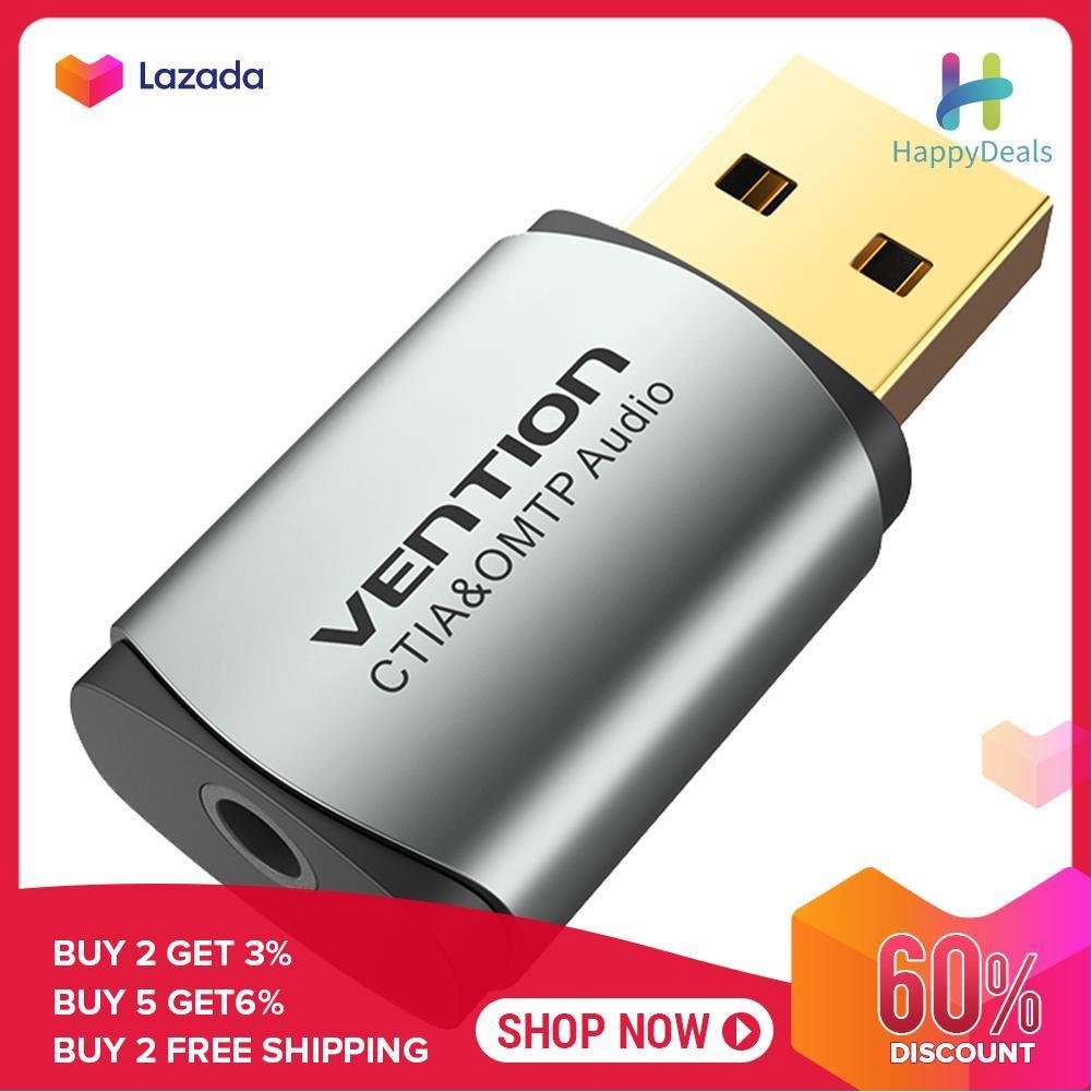 Giá happydealsCDNH0 Gắn Ngoài USB Card Âm Thanh Hợp Kim Nhôm 2.1 CỔNG USB 2.0 ra 3.5mm Tai Nghe Micro Adapter Chuyển Đổi Âm Thanh