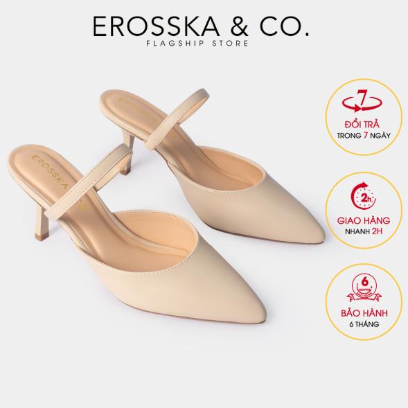 Dép sục cao gót thời trang Erosska quai mảnh phong cách Hàn Quốc cao 8cm màu nude - EM073 giá rẻ