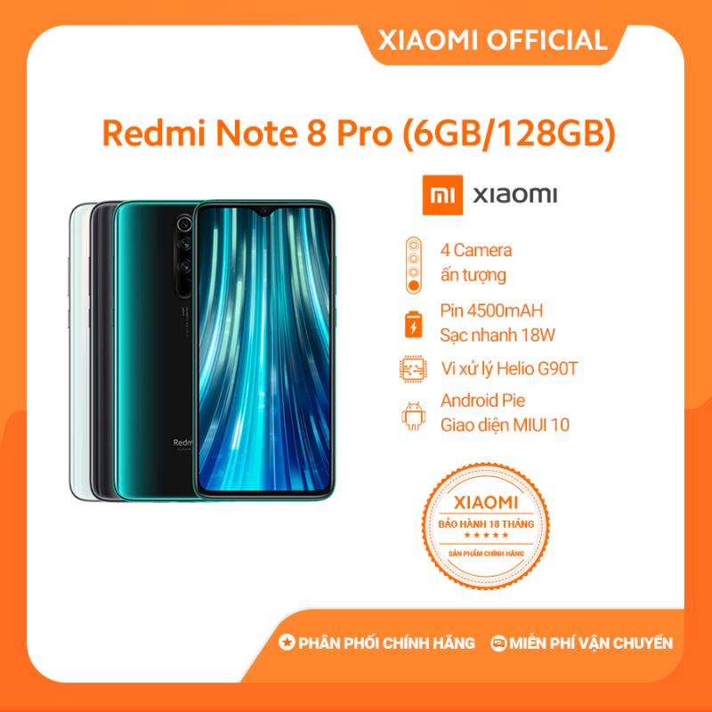 [XIAOMI OFFICIAL] Điện Thoại Redmi Note 8 Pro (6GB RAM/ 128GB ROM) - Cấu hình khủng giá rẻ Camera 64MP Camera trước 20MP Màn hình 6.53 Pin trâu 4500mAh Sạc nhanh Game Hiệu Năng Mạnh Mẽ- Hàng Chính Hãng, Bảo Hành 18 tháng