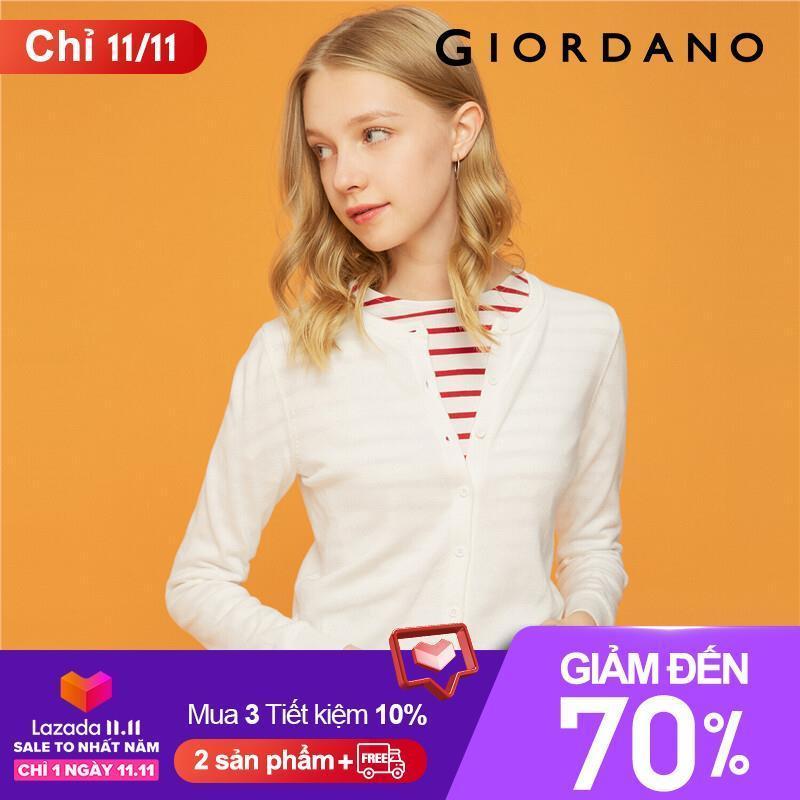 Áo khoác cardigan len siêu mềm, cổ tròn có cúc phong cách nữ tính Giordano FREESHIP 05359866