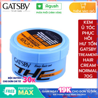 Kem ủ tóc phục hồi hư tổn siêu mượt lạnh nhật bản Gatsby Treatment Hair Cream Normal 70G thơm bóng mượt chứa protein ngọc trai dưỡng ẩm ngừa khô thêm 2 loại vitamin giữ tóc khỏe mạnh