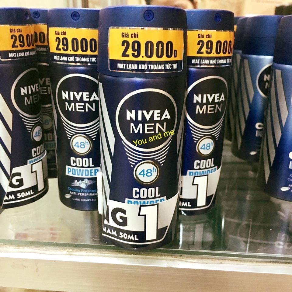 Combo 3 Xịt ngăn mùi Nivea Men Cool Power chai 50ml*3