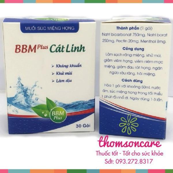 Muối súc miệng BBM Plus - Kháng khuẩn - Hộp 30 gói - Mẫu mới - Chính hãng muối Cát Linh - Chính hãng. giá rẻ