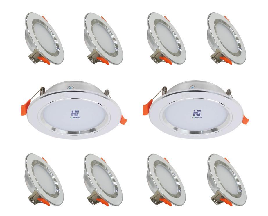 Combo 10 Bộ đèn Led âm Trần Viền Bạc 7w 3 Màu 3 Chế độ Giảm Cực Khủng