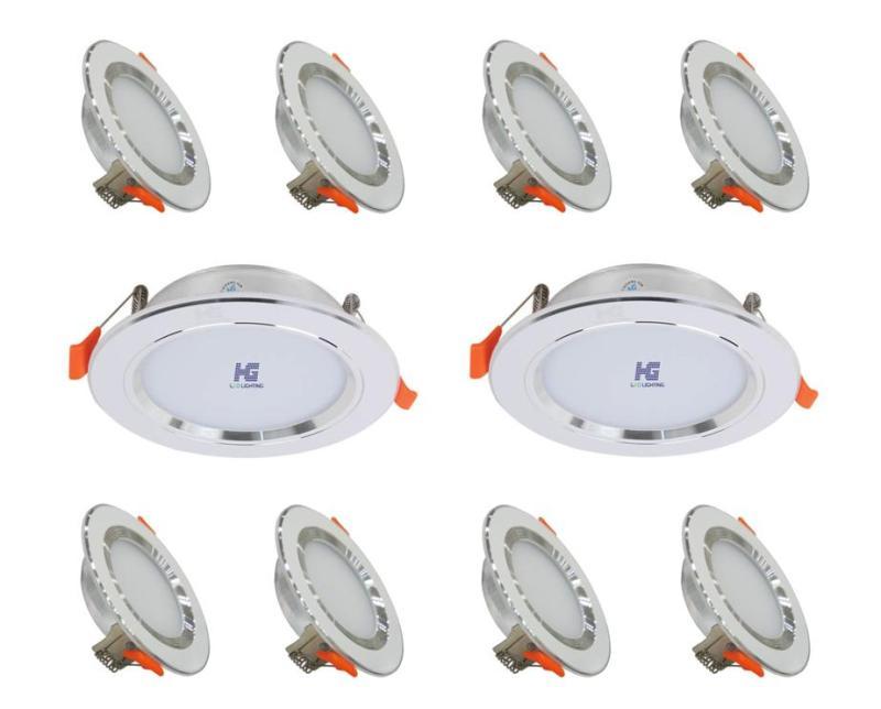 Combo 10 bộ đèn led âm trần viền bạc 7w 3 màu 3 chế độ