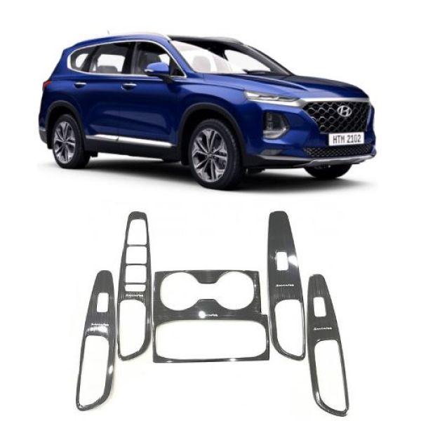 Ốp Nội Thất Xe Hyundai SantaFe 2019 2020 Mẫu Titan Trang Trí Chống Xước Nội Thất Xe- Bộ 5 Chi tiết