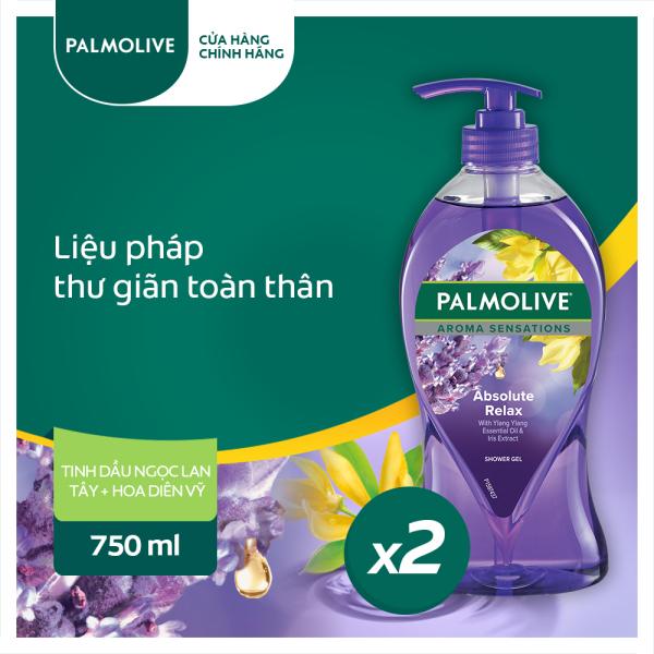Bộ 2 sữa tắm Palmolive liệu pháp thư giãn toàn thân 750ml- Chiết xuất Ngọc lan Tây & Hoa Diên Vĩ giá rẻ