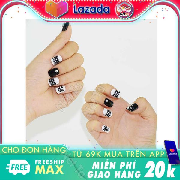 Móng tay giả bộ 24 móng tay đẹp kèm theo keo dán móng tiện lợi cho bạn bộ nail xinh, nail đẹp màu đen phối nhiều màu Nét Ta giá rẻ