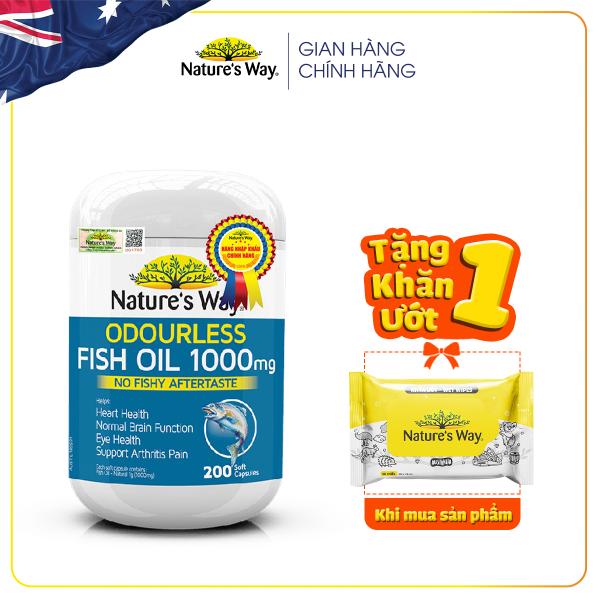 Viên Uống Dầu Cá Nature's Way Odourless Fish Oil Tăng Cường Sức Khoẻ Tự Nhiên Không Mùi 1000mg