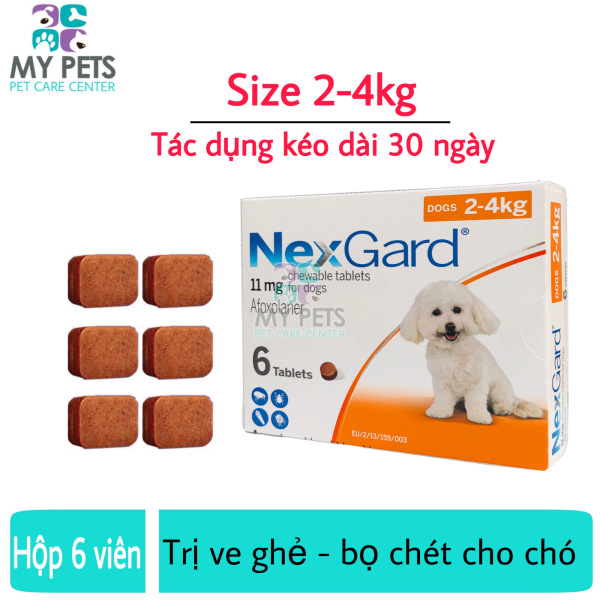 NEXGARD viên nhai ve ghẻ, bọ chét cho chó - 1 hộp 6 viên (Size 2-4kg. full box)