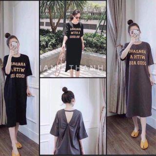 Đầm suông nữ Shynstores - váy suông chữ xoắn lưng cổ tròn form rộng vải cotton dày đẹp freeship thumbnail