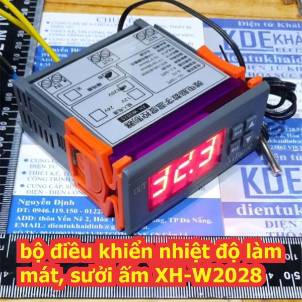 bộ điều khiển nhiệt độ làm mát, sưởi ấm themostat controller XH-W2028, áp vào 12Vdc 24Vdc 220VAC kde6606
