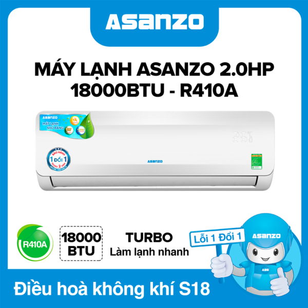 Máy Lạnh Asanzo S18A 18000BTU (2.0HP) Phù Hợp Diện Tích 22-30m² (Siêu Tiết Kiệm, Làm Lạnh Nhanh, Tự Điều Chỉnh Nhiệt Độ, Lọc Không Khí) Máy lạnh giá rẻ - Bảo Hành 2 Năm