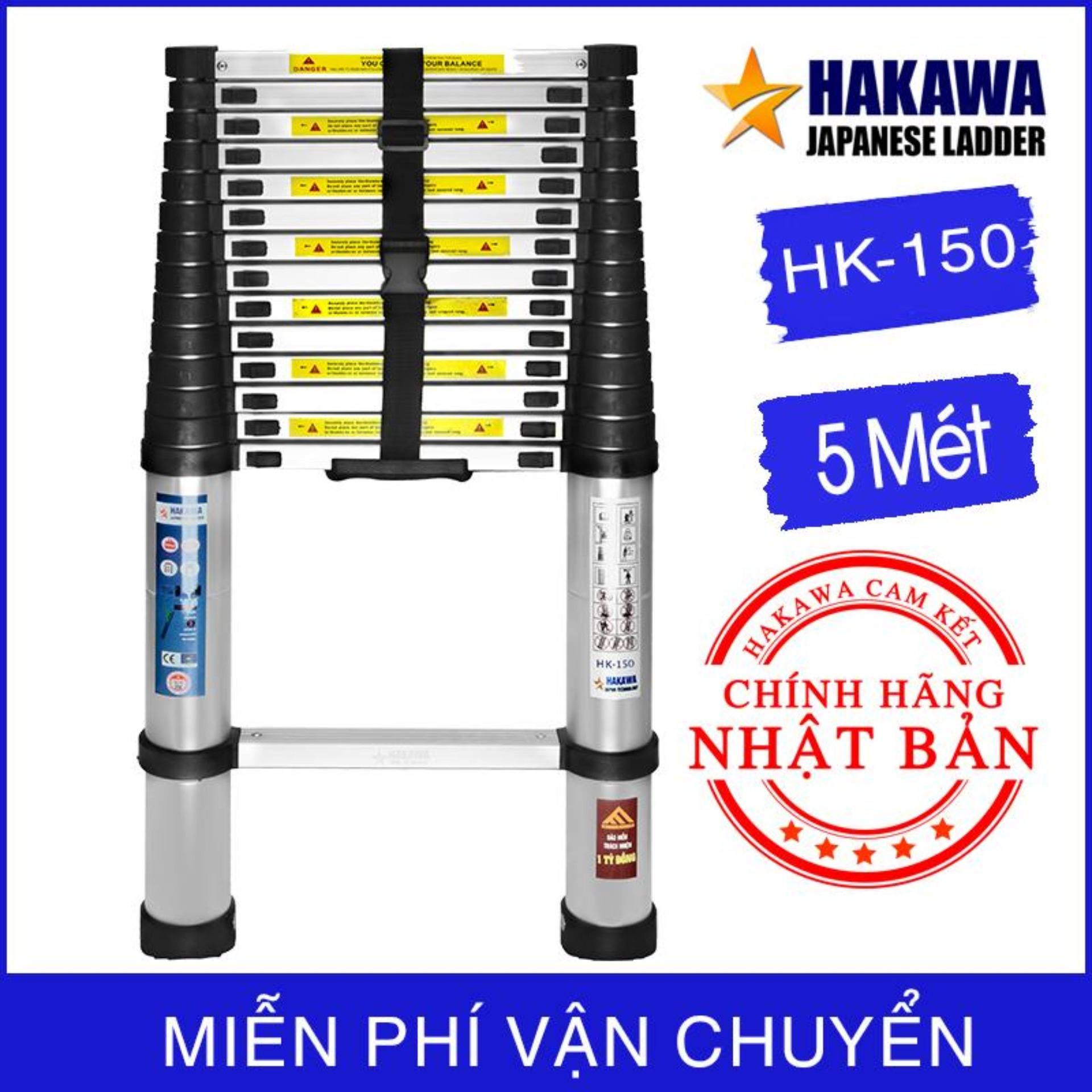 THANG NHÔM RÚT ĐƠN NHẬT BẢN - HAKAWA HK 150 ( 5M ) - PHÂN PHỐI CHÍNH HÃNG