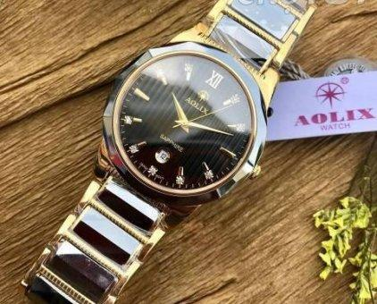 Đồng hồ nam dây kim loại Aolix AL6825g mặt đen(dây đen) bán chạy