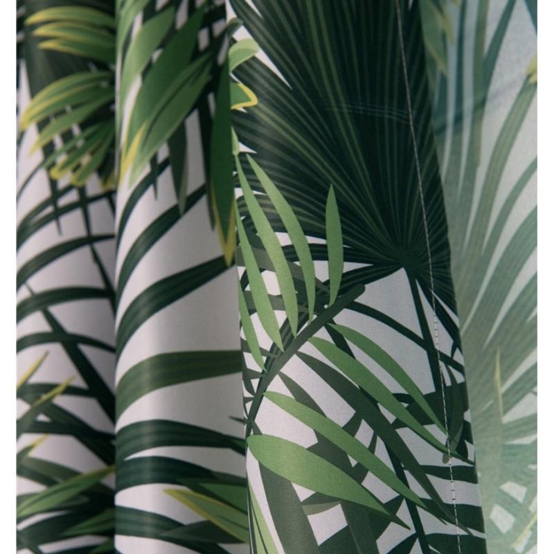 Rèm vải dày che nắng tốt cách nhiệt lá rừng xanh 2m x 2.7m cao