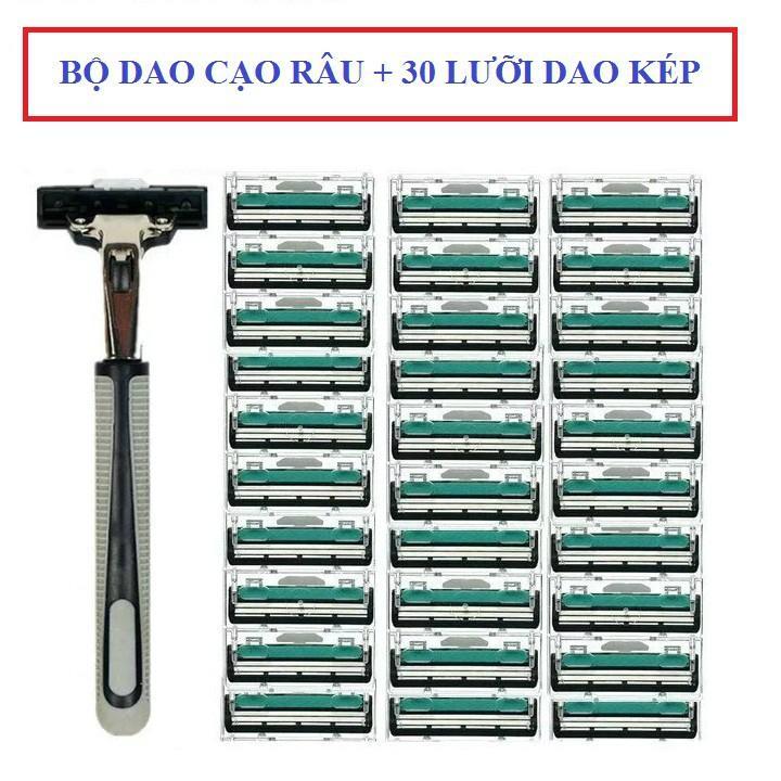 Combo Dao cạo râu và 30 lưỡi dao kép