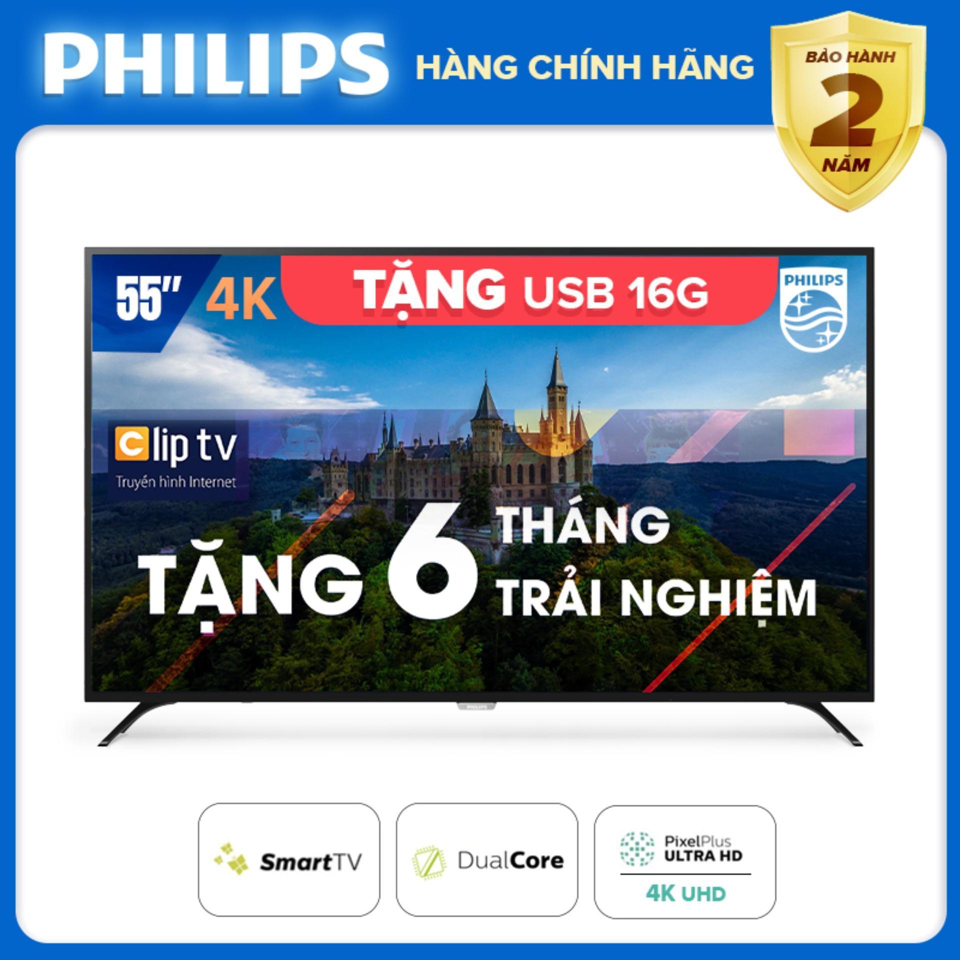 Bảng giá SMART TIVI PHILIPS 4K UHD 55 INCH KẾT NỐI INTERNET WIFI - hàng Thái Lan - Free 6 tháng xem phim Clip TV - Tặng USB 16G - Bảo hành 2 năm tại nhà - 55PUT6023S/74 Tivi Philips
