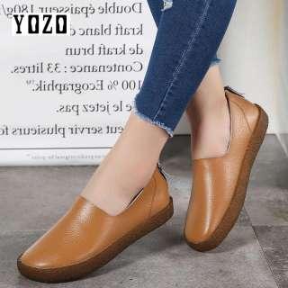 YOZO Giày Bệt Nữ Mũi Tròn Da Mềm Thời Trang Thường Ngày Giày Oxford Đế Bằng Khóa Kéo Bên Hông Chắp Vá Cho Nữ Giày Cho Mẹ Mới Giày Lười Nữ Giày Thể Thao Mềm Giày Thời Trang Nữ Cỡ Lớn 35-43