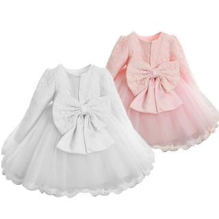 NNJXD 2020 Cô gái Váy Thanh lịch Váy Công chúa Trẻ em Váy ren dài tay có nơ dành cho Cô gái Tiệc cưới Áo dạ hội Quần áo trẻ em 0-8 Tuổi