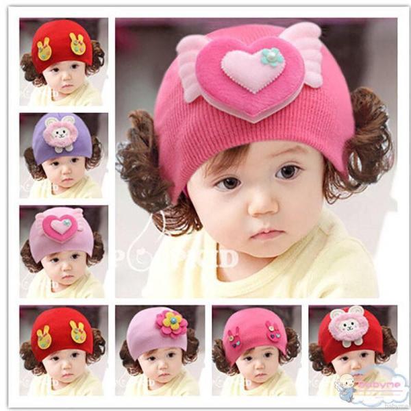 Mũ len tóc giả nhiều mẫu dễ thương cho bé(0-3 tuổi)