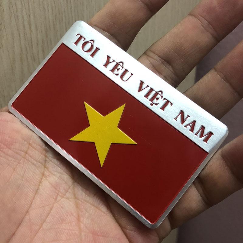 Bộ 2 Tem Nhôm Cờ Việt Nam (Tôi Yêu Việt Nam) Giảm Giá Khủng