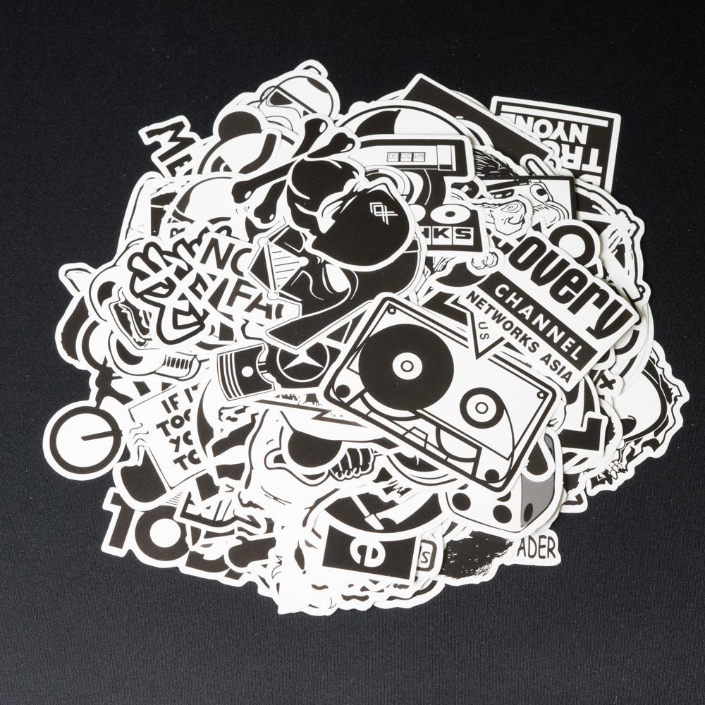 Bộ 10 20 50 Sticker Hình Dán Stickers đen Trắng Cao Cấp Chống Nước, Lâu Phai Trang Trí Vali, Laptop, điện Thoại, Xe đạp, Xe Máy, Skateboard, đàn,... Đang Ưu Đãi Giá