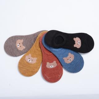 Tất Vớ Nữ Cổ Ngắn Hàn Quốc MINSU V1314 Thêu Hình Gấu Dễ Thương Cute, Chất Cotton Thoáng Mát, Thấm Hút Mồ Hôi thumbnail