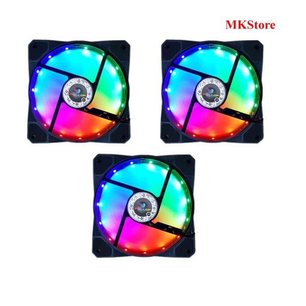 [Nhập ELJAN11 giảm 10%, tối đa 200k, đơn từ 99k]Bộ 3 Quạt LED làm mát cho Case Fan LED Fuller 3 màu tĩnh 12cm