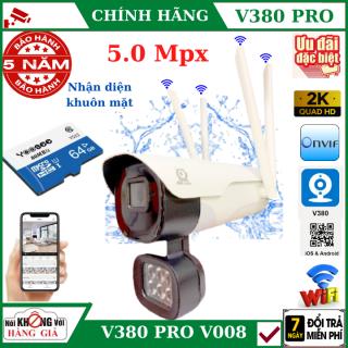 (Tùy Chọn Kèm thẻ nhớ 128GB - bảo hành 5 năm), Camera wifi ngoài trời 4 râu 5.0Mpx V380 Pro - V008 - xem đêm có màu , Nhận diện khuôn mặt , cảnh báo chống trộm, chống nước ip65 , camera ip ngoài trời , camera, camera V380 pro , V380 thumbnail