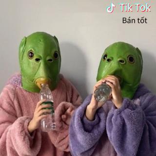 Mũ cá xanh lá trùm đầu hình động vật vui nhộn dùng làm đạo cụ quay video tiktok hoặc quà tặng giáng sinh - JOETXO - INTL thumbnail