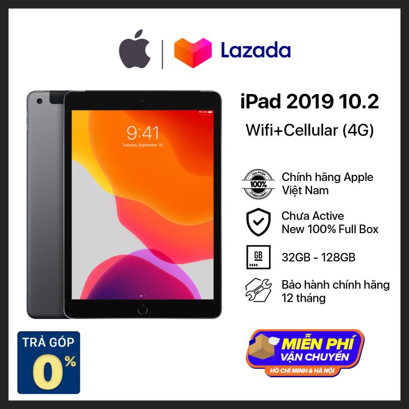 Máy Tính Bảng iPad 10.2-inch Wi-Fi+4G 2019 - Hàng Chính Hãng - Mới 100% (Chưa Kích Hoạt) - Trả Góp 0% - Màn Hình Tương Thích Apple Pencil thế hệ 1 - Chip A10 Mạnh Mẽ - Hệ điều hành iPadOS - Tương thích iPhone