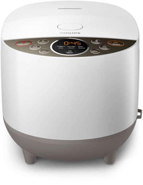 Nồi cơm điện tử Philips 1.8 lít HD4515/68 (Trắng) - Hàng phân phối chính hãng - Bảo hành 24 tháng - 10 chức năng nấu nướng cài đặt sẵn