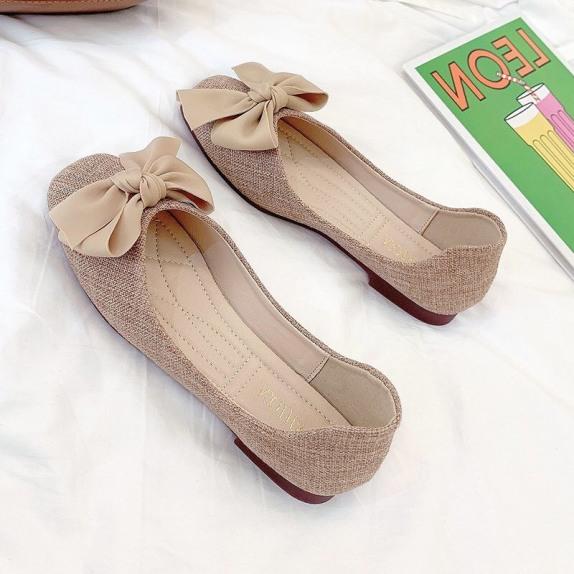 Giày bệt nữ thắt nơ lụa bản to chất dạ mát  cực xinh, sục nơ da lộn cực đẹp giá rẻ