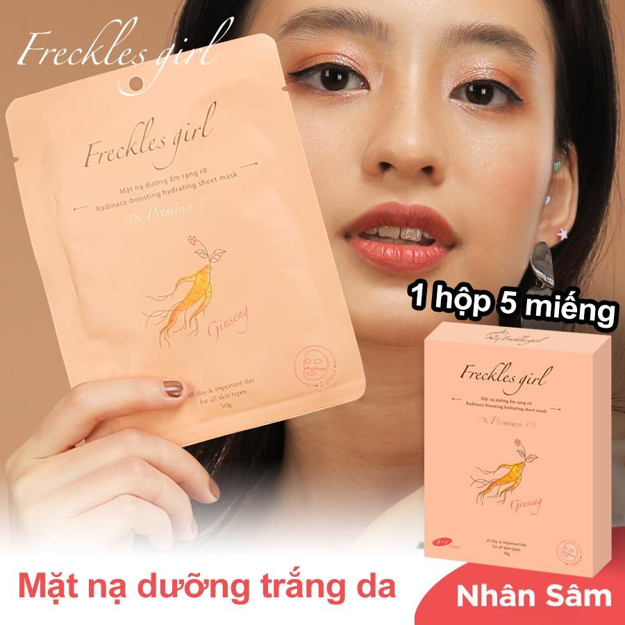 Chương Trình Ưu Đãi cho Freckles Girl【Hộp 5 Miếng】Mặt Nạ Nhân Sâm Thiên Nhiên Dưỡng Da Trắng Sáng Mịn Màng Giữ ẩm Chống Nhăn