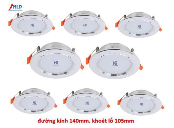 Combo 8 Đèn led âm trần viền bạc 9W - 3 màu 3 chế độ HG