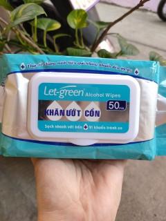 Khăn ướt cồn LET-GREEN 50 MIẾNG GÓI---Tiện dụng sát khuẩn mọi lúc mọi nơi thumbnail