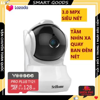 Camera Camera wifi Camera srihome SH020 kèm thẻ nhớ 128G hiển thị 3.0 mpx, cảnh báo chống trộm, xoay 360 độ, hỗ trợ tiếng việt bảo hành 3 năm 1 đổi 1 trong 7 ngày thumbnail