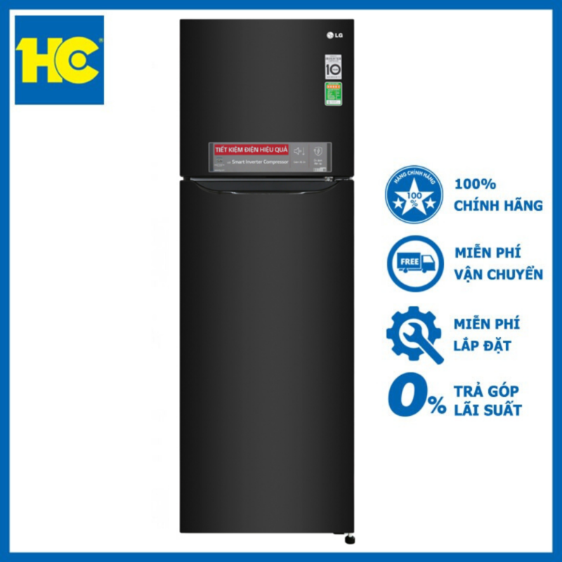 [HC Home Center] Tủ lạnh LG Inverter 255 lít GN-M255BL-Màu Đen-Công nghệ Inverter tiết kiệm điện-Công nghệ DoorCooling+& Nano Cacbon-Chẩn đoán thông minh Smart Diagnosis