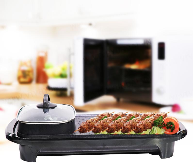 Bếp nướng lẩu điện 2 in 1 - Có khay hứng mỡ thừa -  Dung tích 1.5L - Chống dính - Cảm biến nhiệt tự đông ngắt điện khi nhiệt độ quá cao - Nắp kính cường lực cao cấp - Công suất 1300W