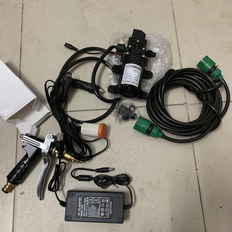 Bộ máy bơm nước rửa xe mini 72W động cơ áp lực, gồm ống nước vòi tăng áp lực xịt nhiều chế độ rửa xe máy, ô tô, tưới cây, rửa sân vườn tặng bộ biến áp 220V-12V-GOOG- PUMPS