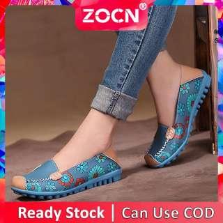Giày Nữ Giày Đế Bằng ZOCN Cho Nữ Giày Lười Thời Trang Nữ Giày Lười Nữ Nửa Vòng Giày Công Sở Thông Thường Giày Thuyền Phong Cách Hàn Quốc Giày Da Nữ Ize Cỡ Lớn 35-44