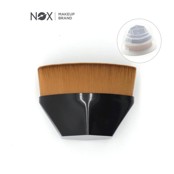 NOX Makeup Brush Foundation Brush Face Brush for Blending Liquid Cream with Portable Case Black 1PC